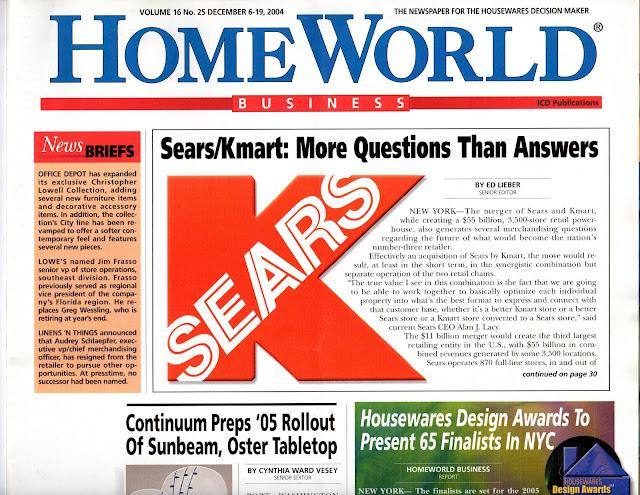 Edward Lieber's Journalism Portfolio: Sears, Kmart Merge, Consolidate