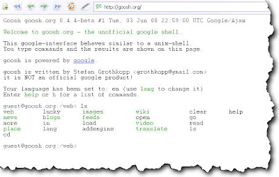 Goosh.org - The Unofficial Google Unix Shell