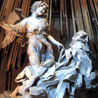 Gianlorenzo Bernini (1598-1680) De extase van de Heilige Theresa van Avila, 1647-52; marmer, hoogte 350 cm. In de Cappella Cornaro, Santa Maria della Vittoria, Rome