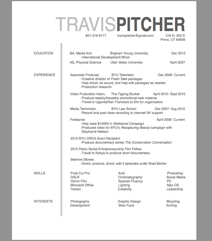 TRAVIS PITCHER Resumes