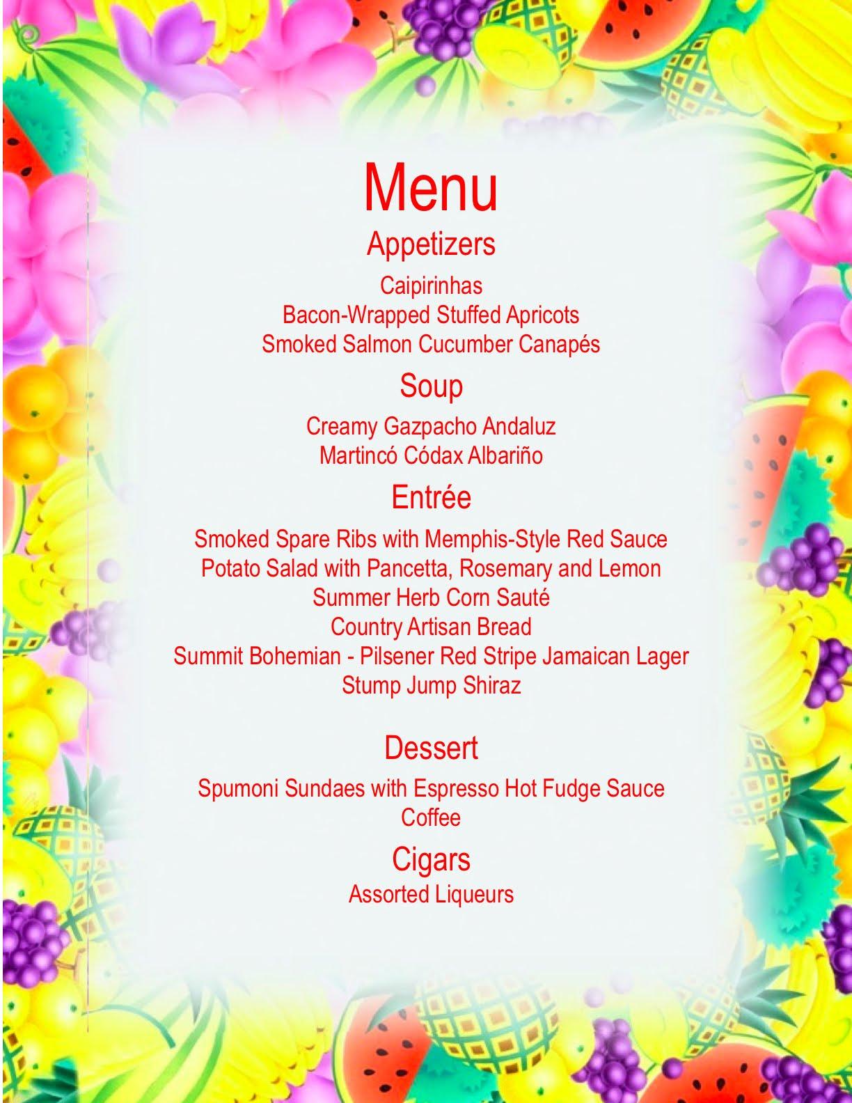 summertime party menus