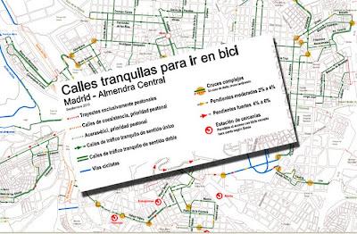 Mapa de las calles más traquilas de madrid para ir en bici