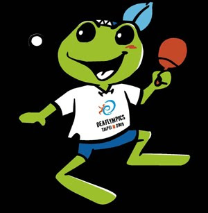 The paddling frog is the mascot of the Deaflympic table tennis events.