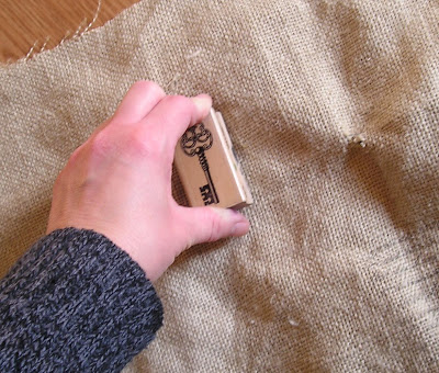 Press the stamp firmly when stamping on burlap
