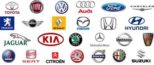 Çeşitli otomobil markaları ve amblemleri