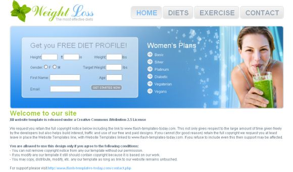 Free Health Diets Blue CSS Website Template