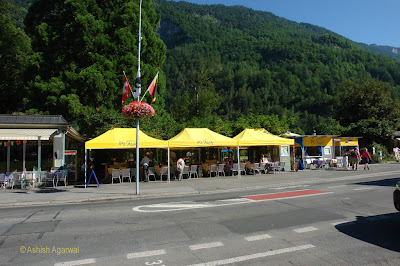 Open air cafe on way to Interlaken Ost train station