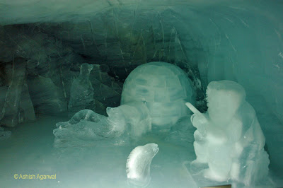Greenish tinge from the sculptures inside the Ice Palace in Jung frau