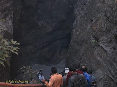 Climbing down the ladder at Jata Shankar