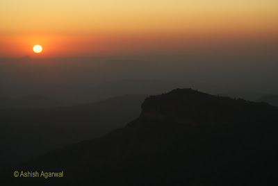 Sunset in the distance at Dhoopgarh in Pachmarhi