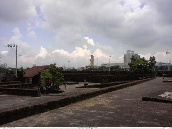 View of Manila City Hall on the walls of Intramuros