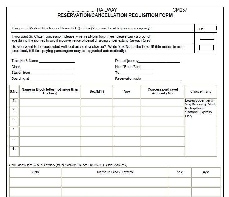 Indian Railways Passenger Guidance Blog Railway Reservation Form