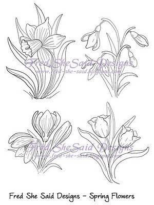 paper pricking templates - fred she said designs the store spring flowers