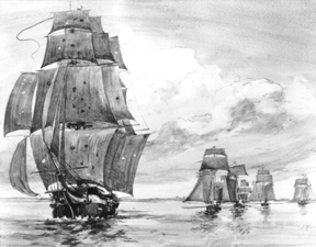 British ship pursued by American fleet, 1812
