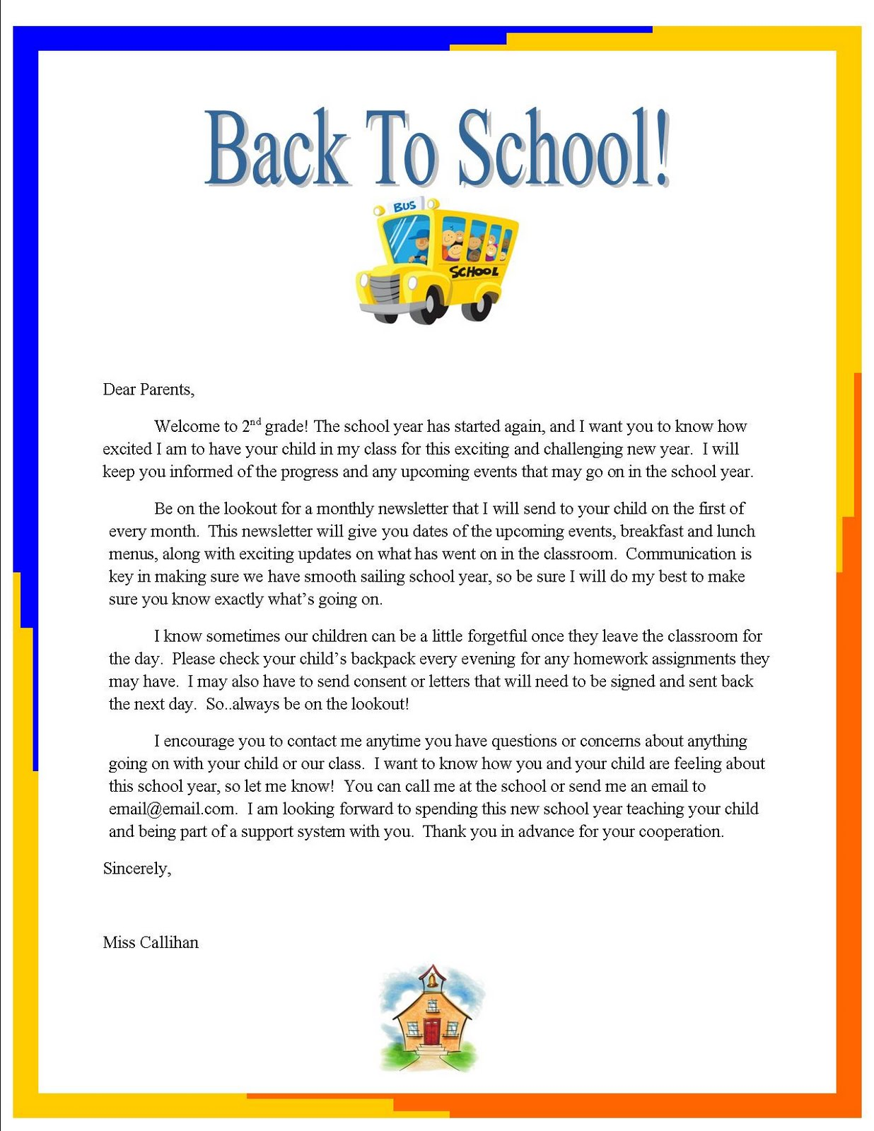 """Emily's Blog: Week 3: """"Back to School"""" letter to Parents"""