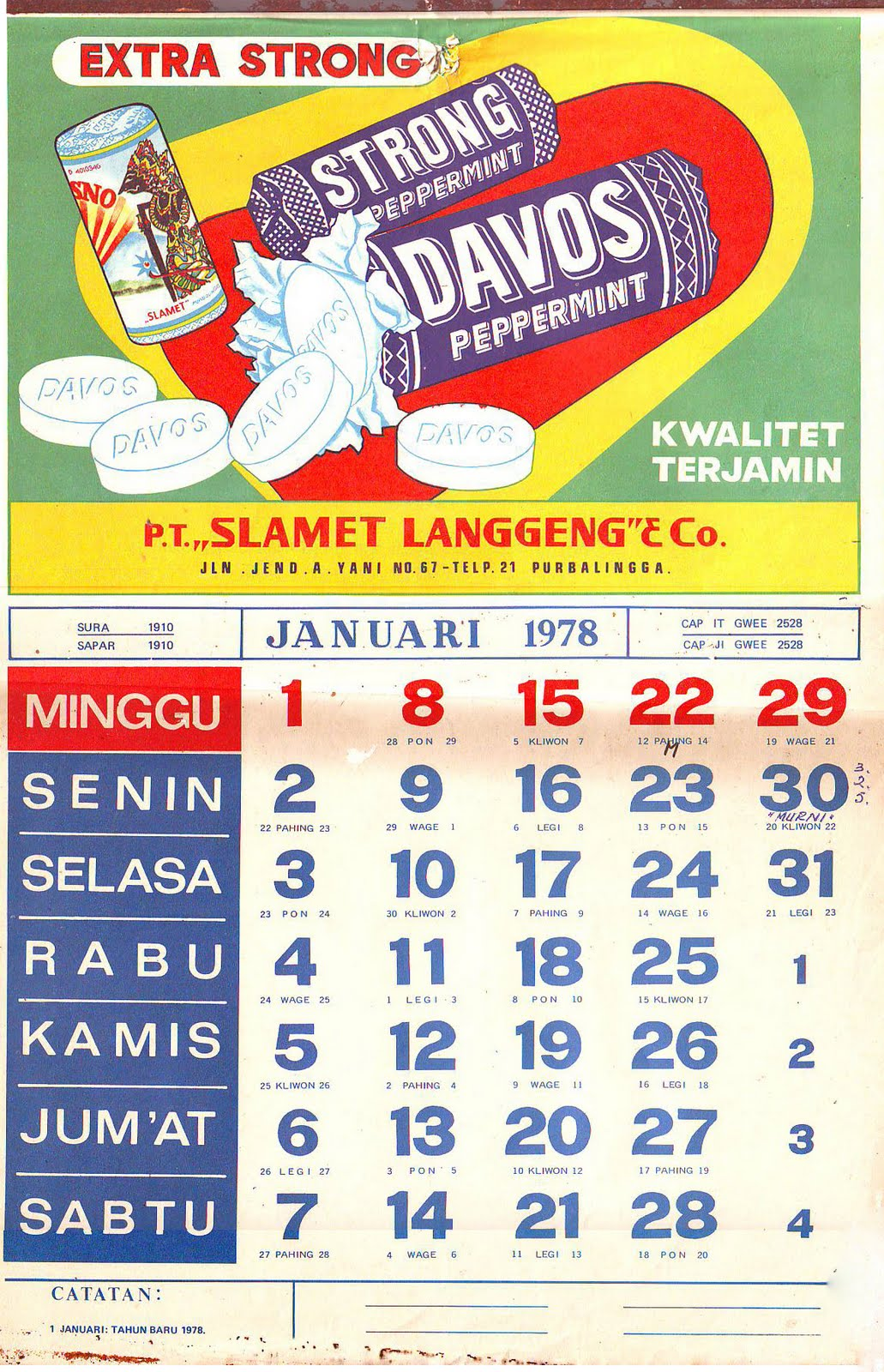 Koleksi Djadoel Seri Kalender DAVOS Tahun 19771978 dan