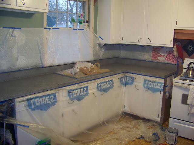 Spray Painted Countertops Newmans Nest The Jones Family Kitchen Makeover Part Ii Painting