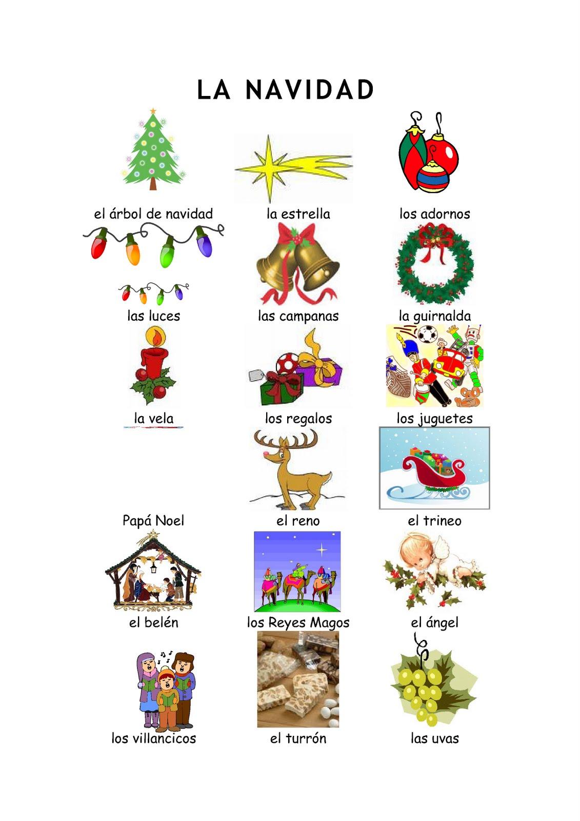 Navidades 1 Vocabulario Y Ejercicios Mira Las Fichas