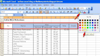 Cara Mengatur Warna Background Tabel Dan Teks Di Excel 2003