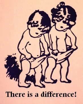 Boy and girl cartoon looking in underwear