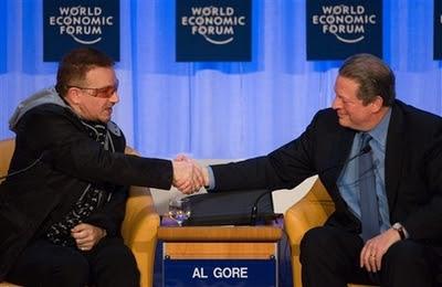 Bono y Al Gore en Davos 2008