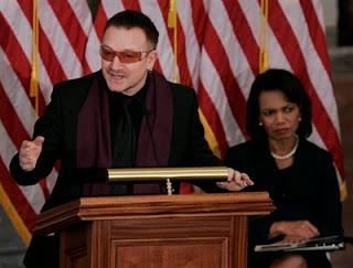Bono y Condoleezza Rice