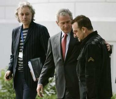 Bono en alemania G8 con Bush