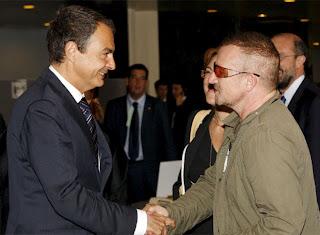 Bono y Jose Luis Rodriguez Zapatero