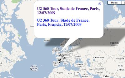 Conciertos U2 360 tour en google map