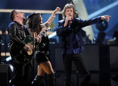 U2, Fergie y Mick Jagger