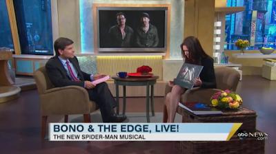 Bono y Edge en Good Morning America presentando Spiderman