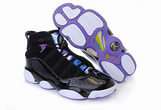 buy popular de79c 7d0b2 The Nike Air Jordan 6 Rings (GS) have been released in a popular Aqua  colorway. The sneaker features a mix of black uppers with hits of Varsity  Purple all ...