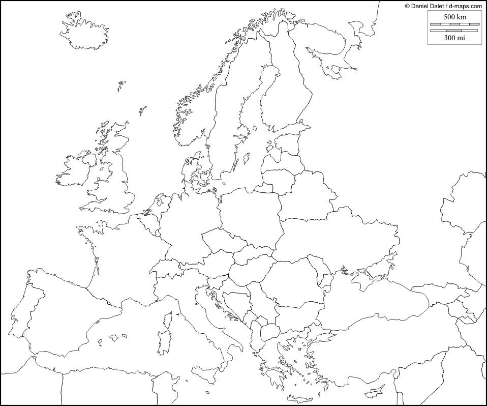 Cartina Politica Europa Da Stampare Formato A4.Carta Muta Europa Formato A4