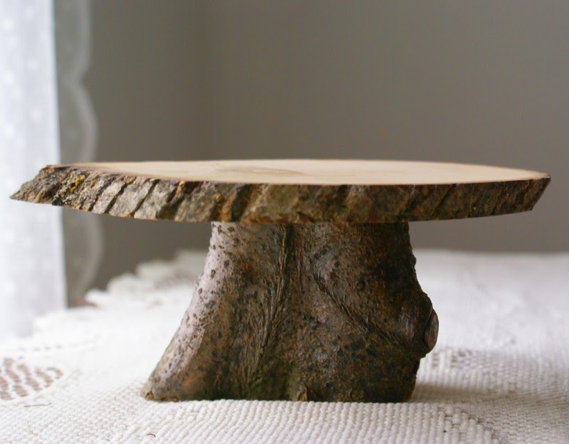 Rustic Wedding Wood Cake Stand: Seaweed Wedding: Fabulous Natural Wood Cake Stand