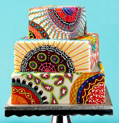 colorful abstract wedding cake