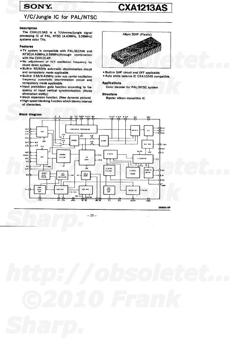 Obsolete Technology Tellye Sony Kv 1484mt Chassis Scc D26a A Pal Decoder Block Diagram Video Chroma 15 Systems Overview