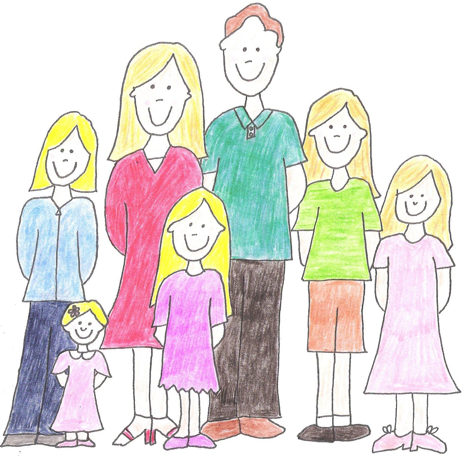Малышом, рисунок семья из 5 человек