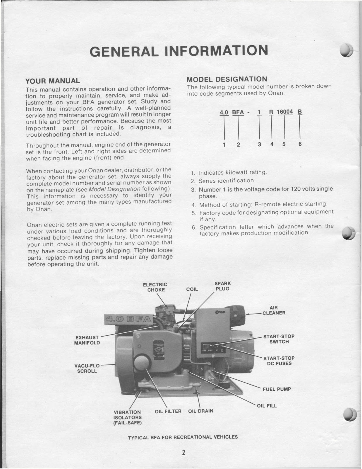 1983 Fleetwood Pace Arrow Owners Manuals     ONAN    40 KW BFA Genset Operators Manual