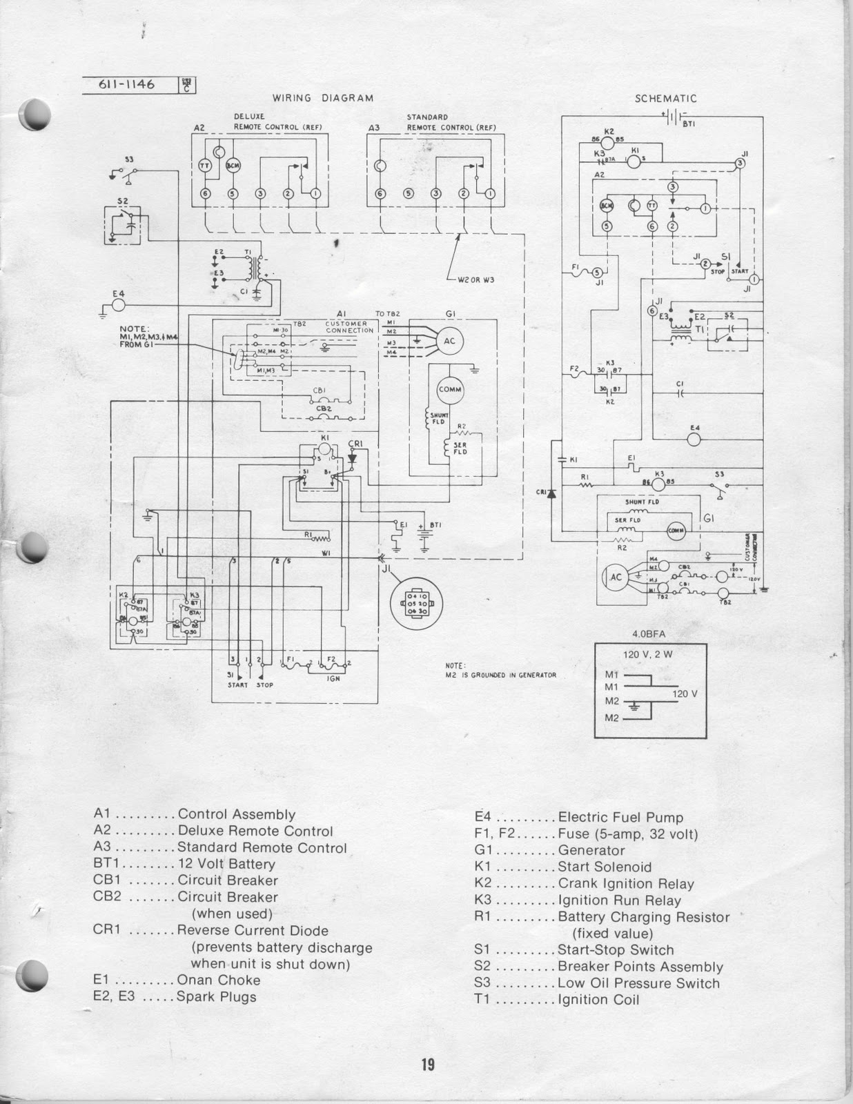 1983 Fleetwood Pace Arrow Owners Manuals: ONAN 40 KW BFA Genset Operators Manual