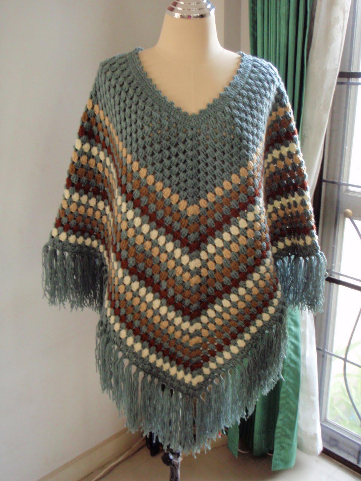 Myknittingdaily Crochet Poncho Grey