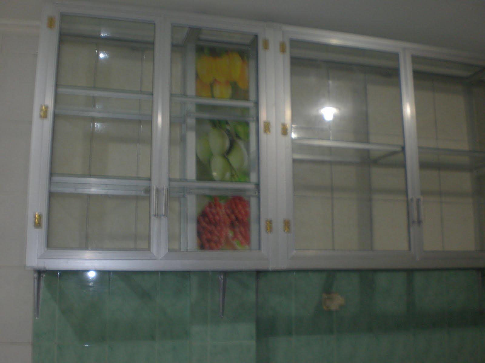 Kusen Alumium Pintu Aluminium Jendela Partisi Gypsum Kaca Kabinet Dapur Kitchen Set