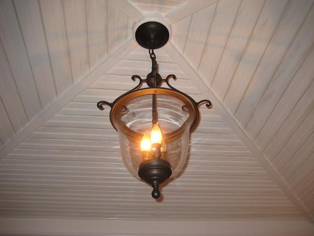 Bell Jar Light and Beadboard Ceiling