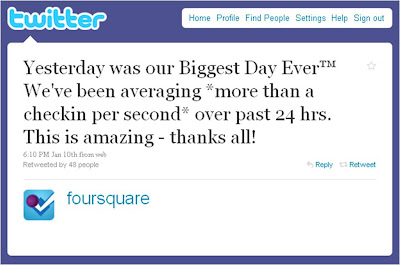 FourSquare tweet on traffic usage levels
