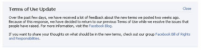 Facebook terms of service homepage message