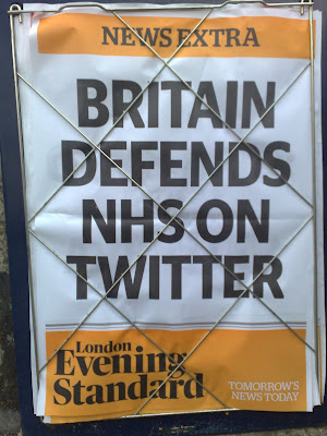 NHS Twitter debate London Evening Standard front page