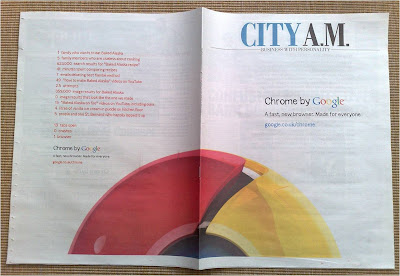 Google Chrome City AM newspaper ad coverwrap