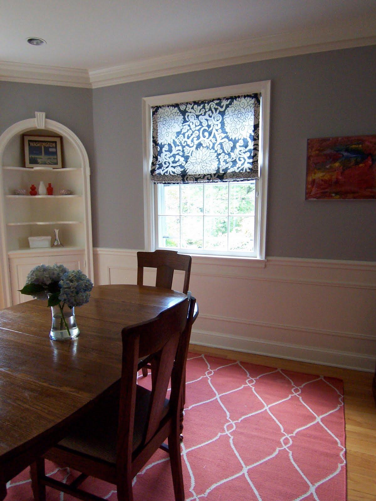 Cheerful gray dining room Benjamin Moores AC28 Smoke Embers  bossy color Annie Elliott