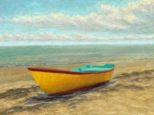 Pastel Painting Daily Painting Seascape Yellow Boat
