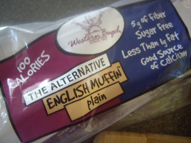 """A close up of a bag labeled, \""""The Alternative English Muffin: plain\"""""""