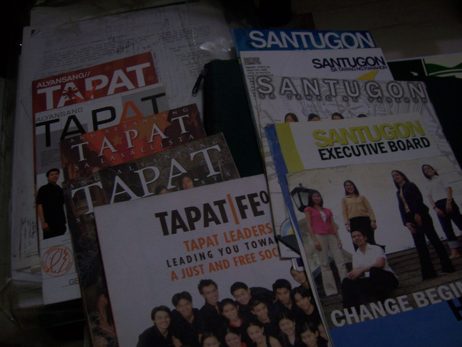 I collected four years' worth of campaign materials from both parties. The last batch - the one for the 2009 elections - came from my sister, who helped as much as possible despite not wanting to write for me. The people I met during the campaigns asked me if she'll write. She'd admit she's more of a Tapat person.